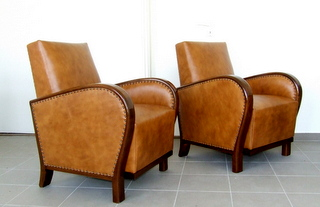 Art Deco Leather Armchairs, Club Chairs.