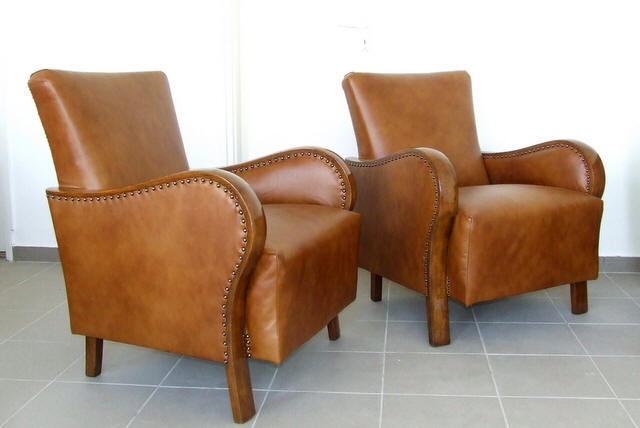 Art Deco Leather Armchairs. 1920's Vintage.