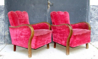 Pair of Art Deco 'Cloud Back' Armchairs.