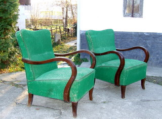 Pair of Art Deco Walnut Armchairs.