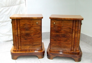 Art Deco walnut veneered bedside cabinets.