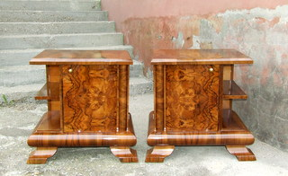 Pair of walnut veneered art deco bedside cabinets.
