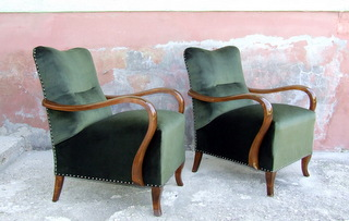 Pair of Art Deco Armchairs or Club Chairs.