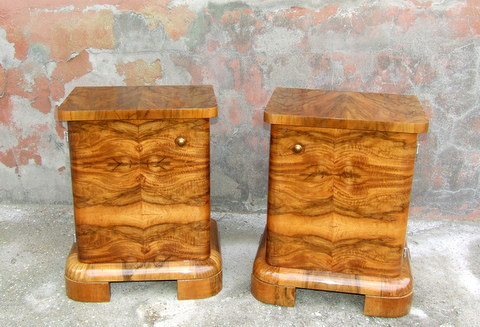 Art Deco Walnut Bedside Cabinets.